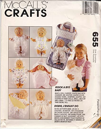 Amazon.com: McCall\'s Sewing Pattern 655 7398 Doll Clothes Diaper Bag ...