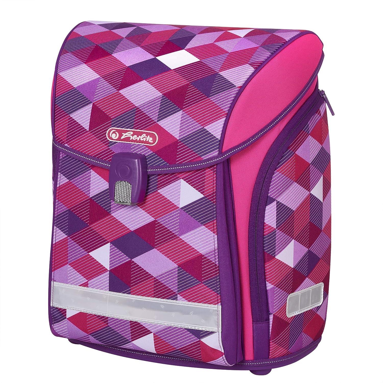 Herlitz Schulranzen Midi Pink Faulenzer dreikant und Sportbeutel Pink Cubes Cartable 38 Centimeters Rose Sch/üleretui