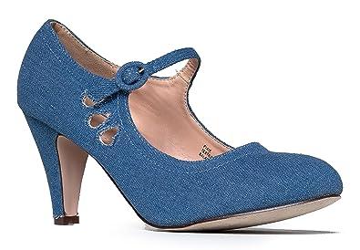 Amazon.com | Mary Jane Pumps - Low Kitten Heels - Vintage Retro ...