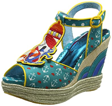 Poetic Licence by Irregular Choice Round The Twist, Sandales Plateforme Femme, Bleu (Teal Multi B), 36 EU