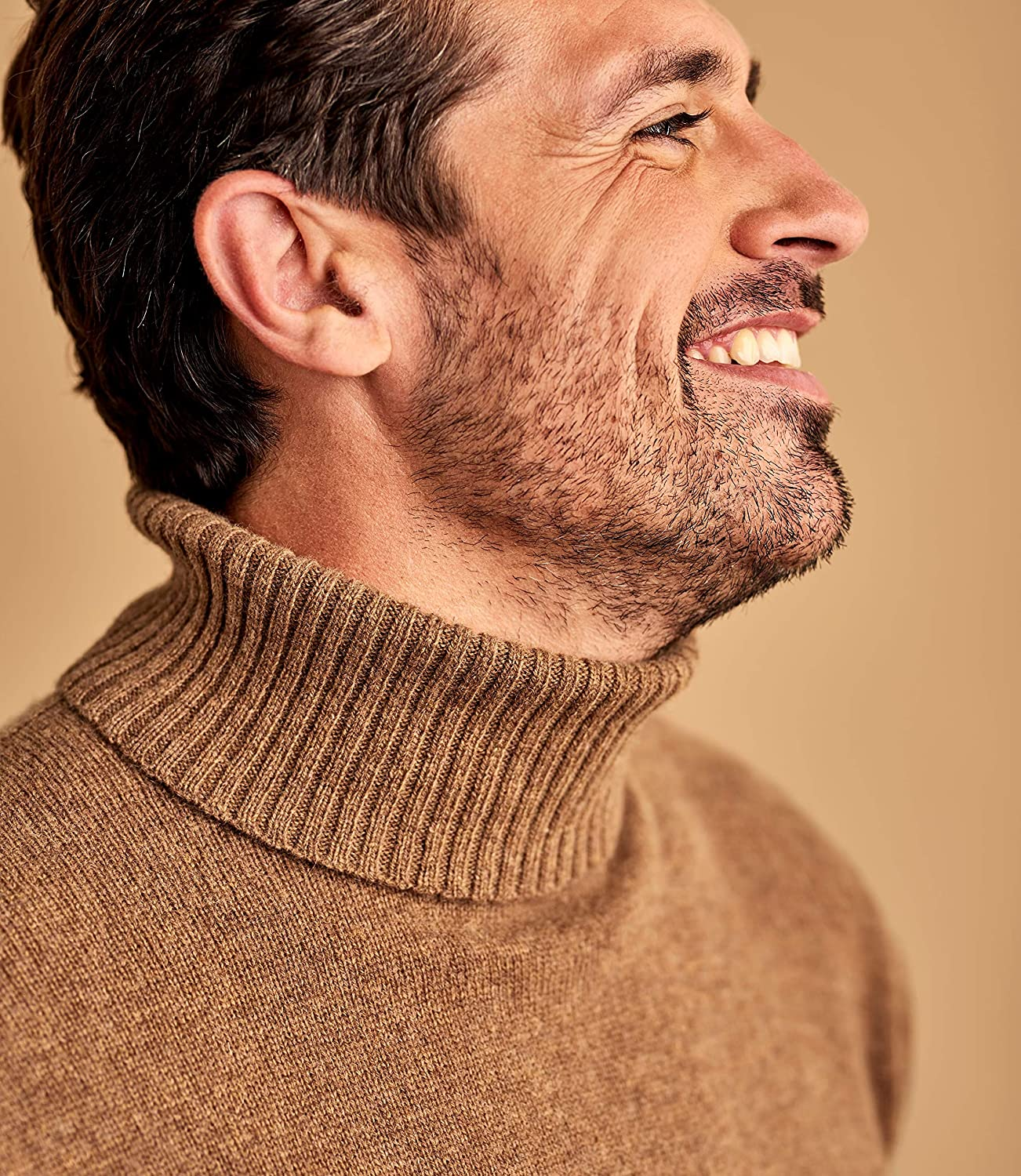 WoolOvers Mens Lambswool Polo Neck Knitted Jumper Tawny