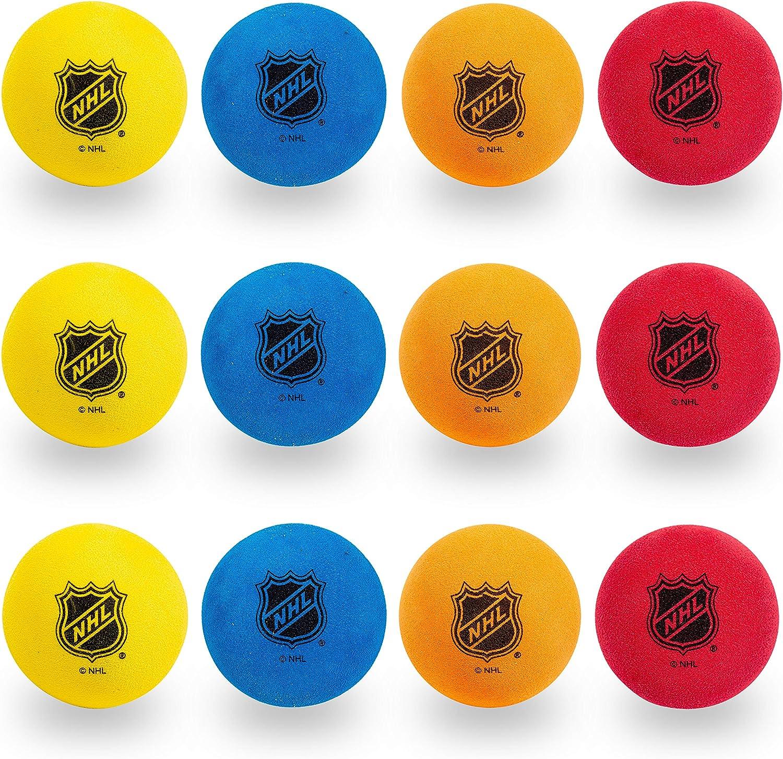 Franklin Sports Knee Hockey Balls - Indoor Mini Foam Hockey Balls for Kids - 12 Soft Foam Hockey Balls - Assorted Colors - Drawstring Bag: Sports & Outdoors