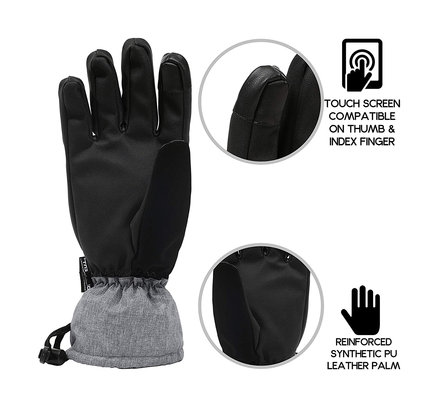accsa Ski Gloves Women Winter Waterproof Snowboad Snow 3M Thinsulate Warm Touchscreen Cold Weather