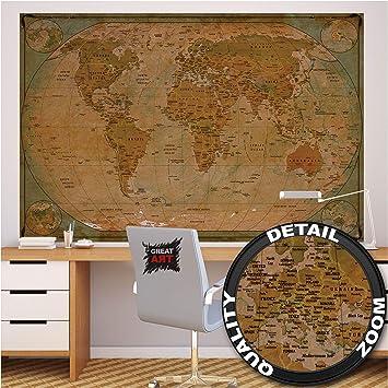 GREAT ART XXL Póster – Mapa Histórico del Mundo – Mural Globo Vintage Antiguo Mapa del Mundo Usado Mirar Atlas Mapa Decoración De Cartel De Pared De La Vieja Escuela (140 X