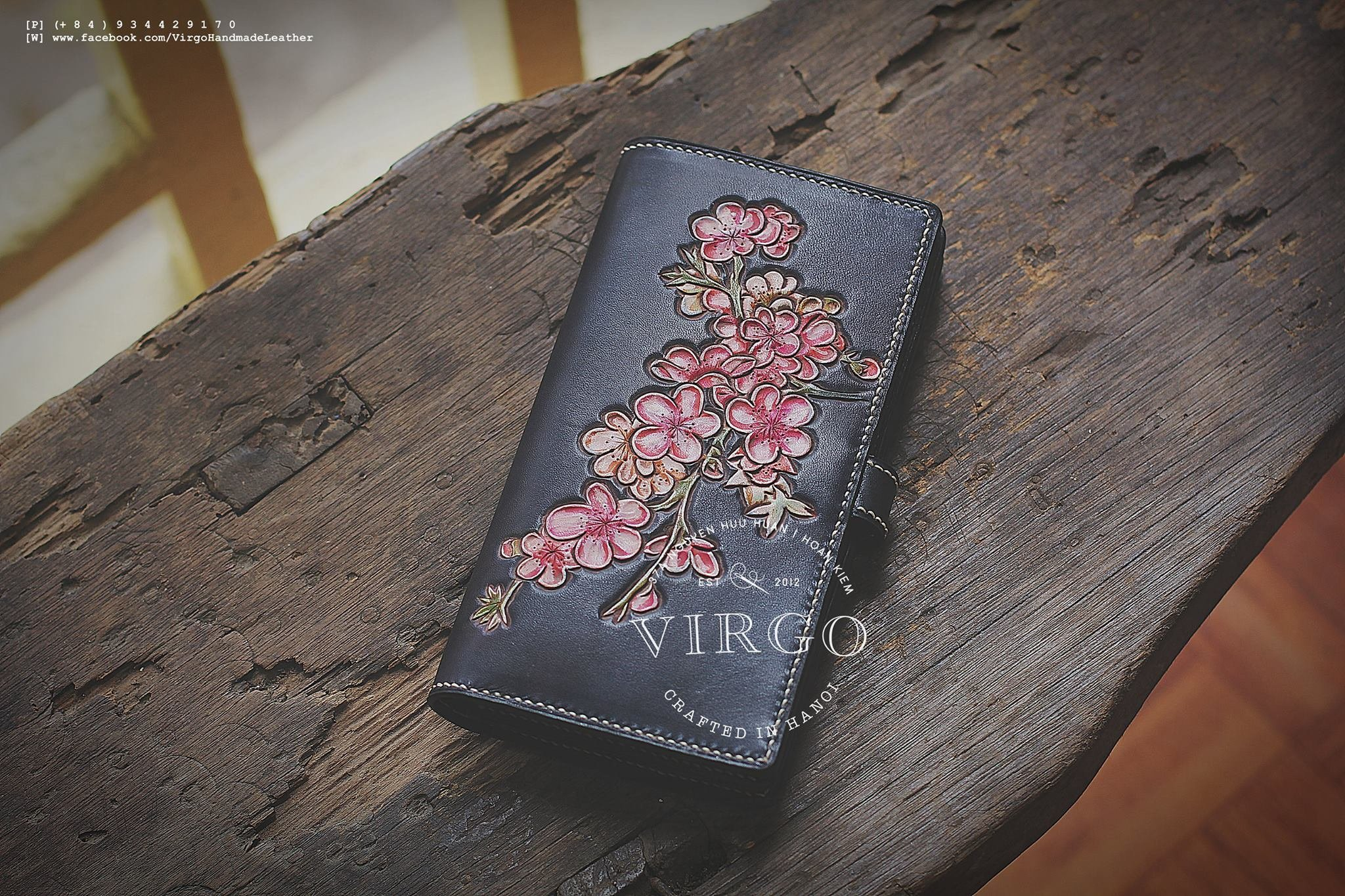 Blossoms hand tooled long wallet for women | Personalized Vintage vegetable tanned leather handmade wallet