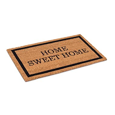 BirdRock Home Home Sweet Home Coir Doormat - 18 x 30 Inch - Standard Welcome Mat with Black Border and Natural Fade - Vinyl Backed - Outdoor