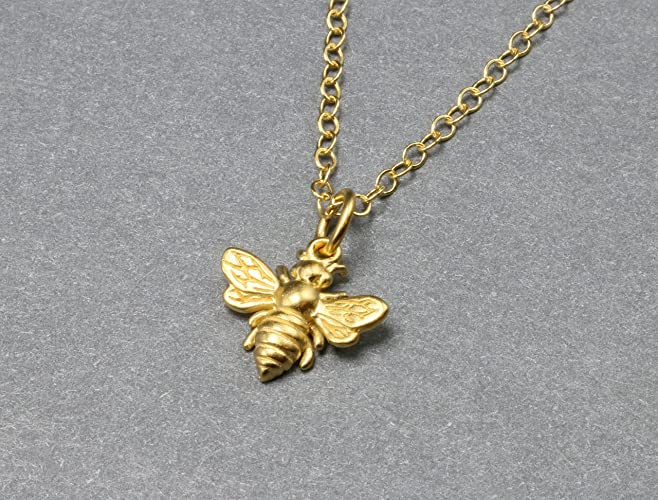 Amazoncom Small Gold Bee Necklace Honeybee and Bumble Bee Jewelry