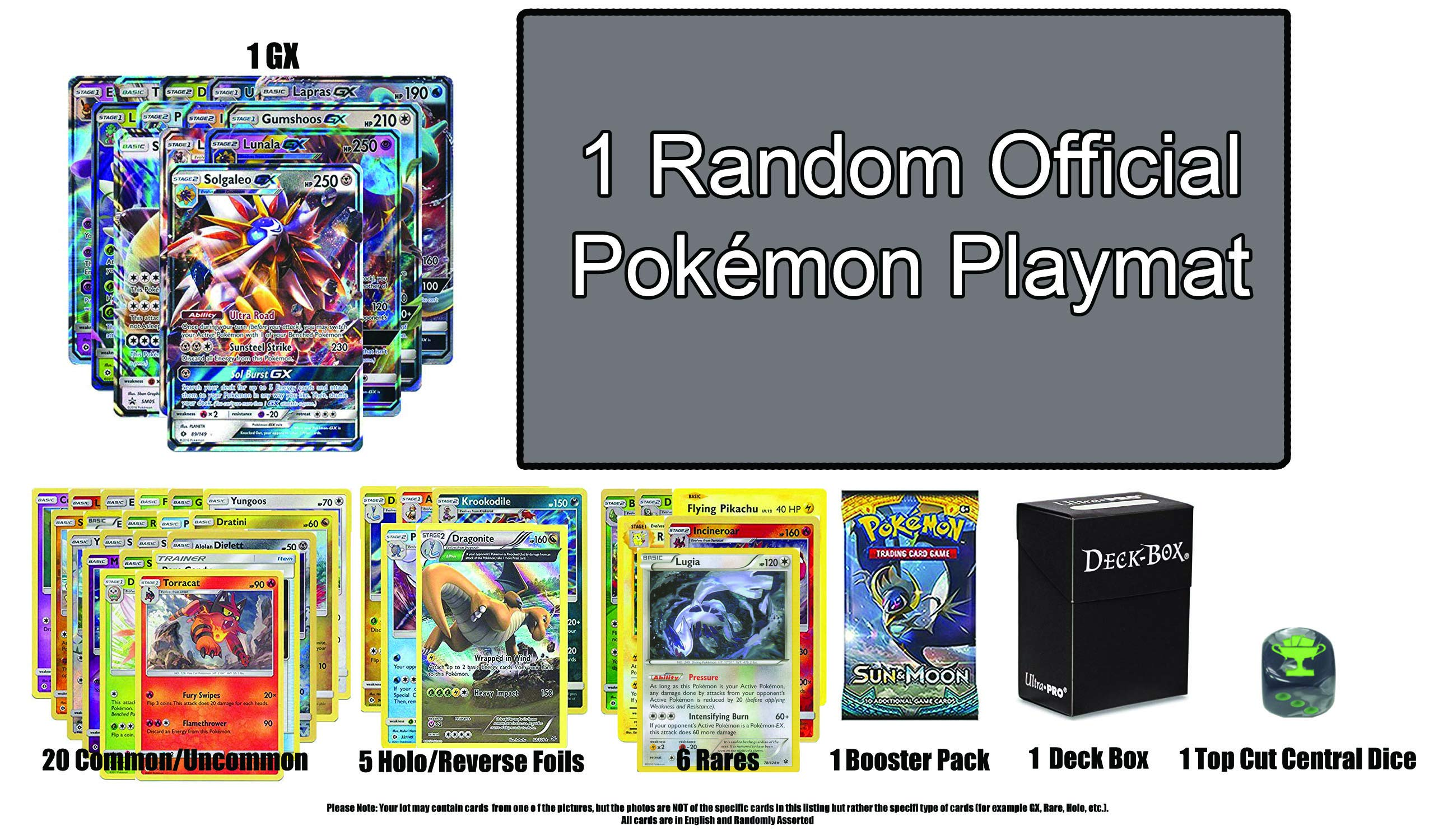 Pokemon GX Guaranteed with Booster Pack, 6 Rare Cards, 5 Holo/Reverse Holo Cards, 20 Regular Pokemon Cards, Deck Box, Top Cut Central Exclusive Dice and Official Pokemon Playmat