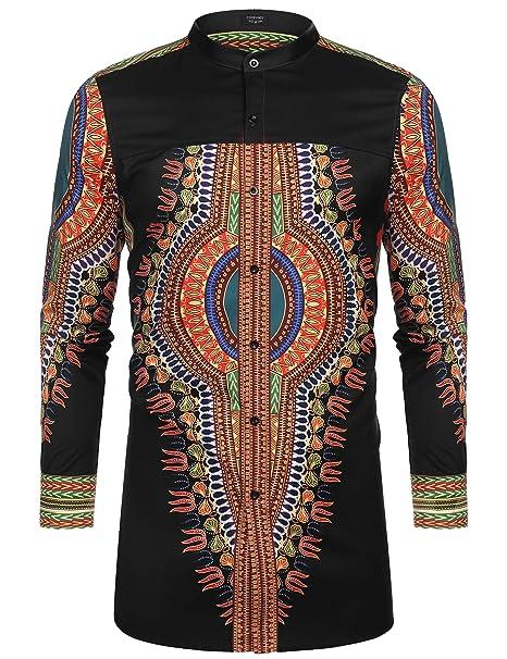 3e647a2d2 COOFANDY Men's African Dashiki Print Shirt Long Sleeve Button Down Shirt  Bright Color Tribal Top Shirt