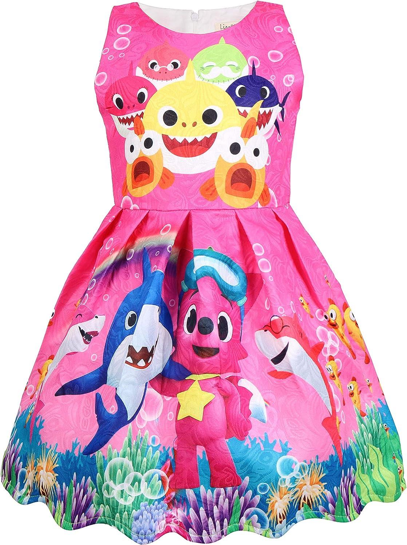 Vestito Partito Ragazza Senza Manica Vintage Cartoon Baby Shark Print Sciolto Bambina Swing Abiti da Festa Regalo