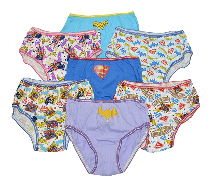 4412ae2ff192 DC Girls Super Hero Hipsters Pack of 7 Underwear Size 4 Supergirl Batgirl