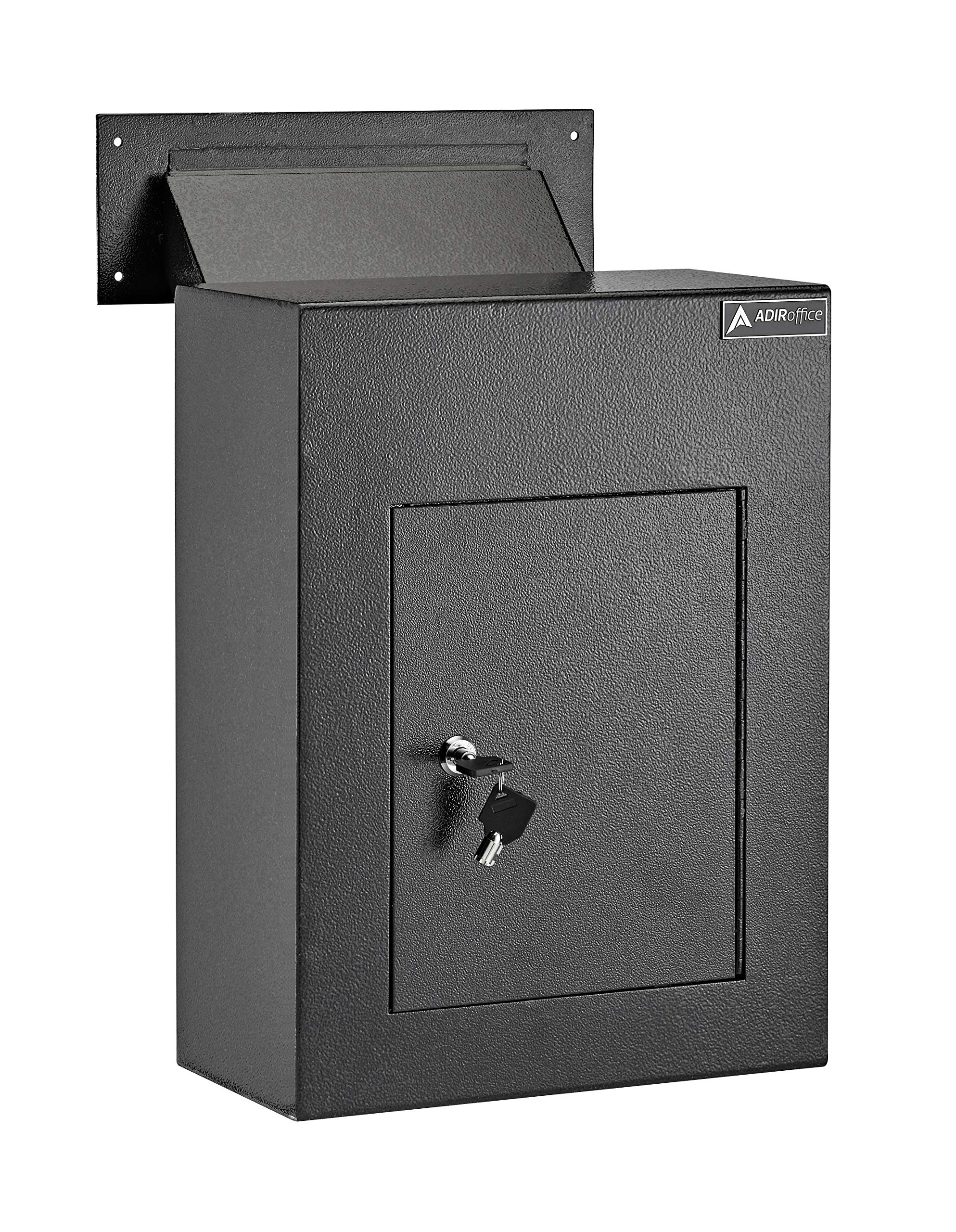 AdirOffice Through The Wall Drop Box Safe (Black/Grey/White) - Durable Thick Steel w/Adjustable Chute - Mail Vault for Home Office Hotel Apartment (Black) by AdirOffice