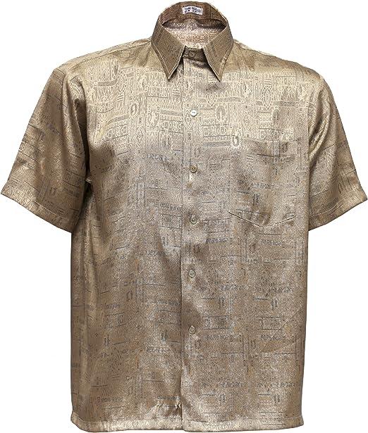 Hombres camisa manga corta Jacquard de seda tailandesa de oro, dorado, XL: Amazon.es: Hogar