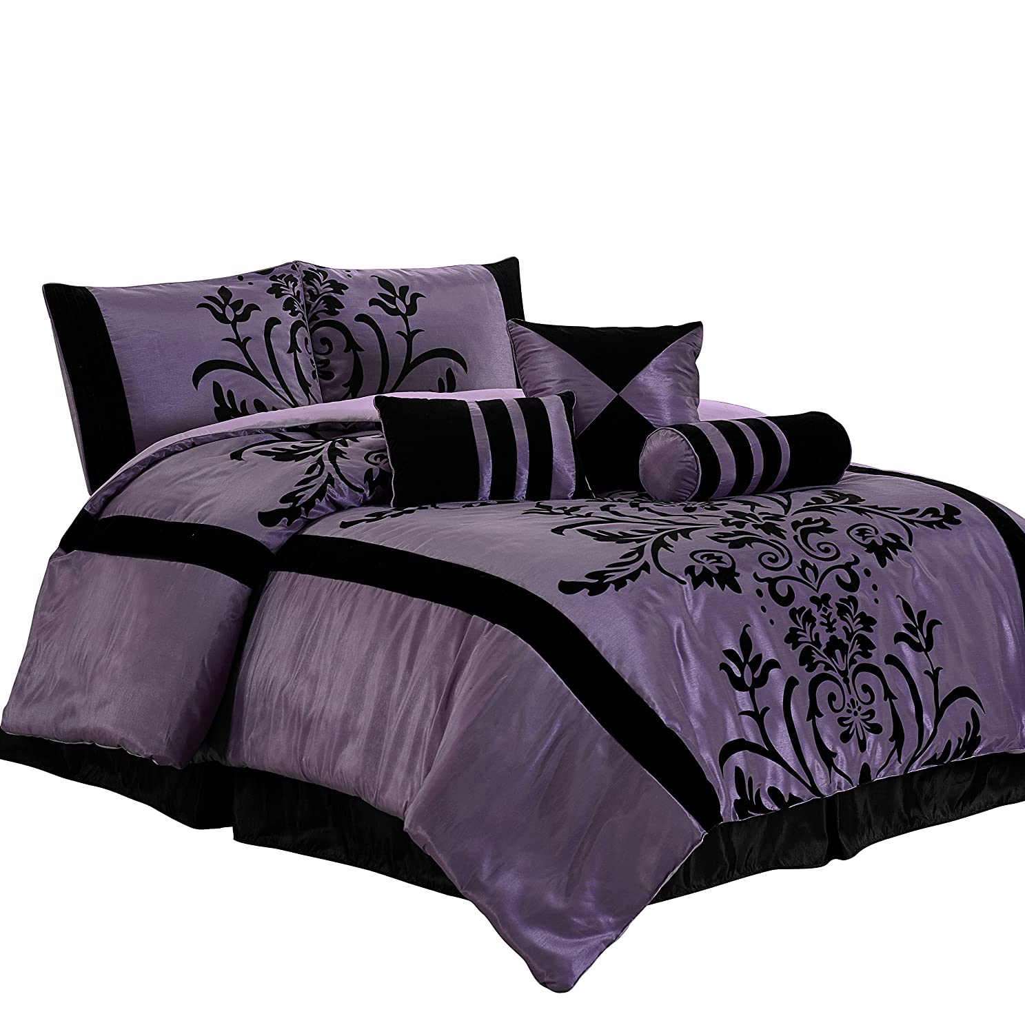 Chezmoi Collection Nobility-Com 7-Piece Black Violet Flocked Floral Faux Silk Bedding Comforter Set (King)