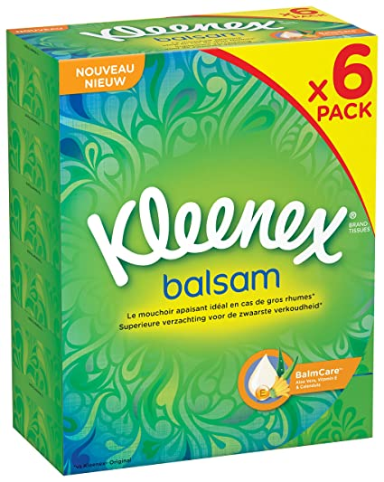 Kleenex- Pañuelos de bálsamo - 80 pañuelos - Juego de 6 (480 pañuelos)