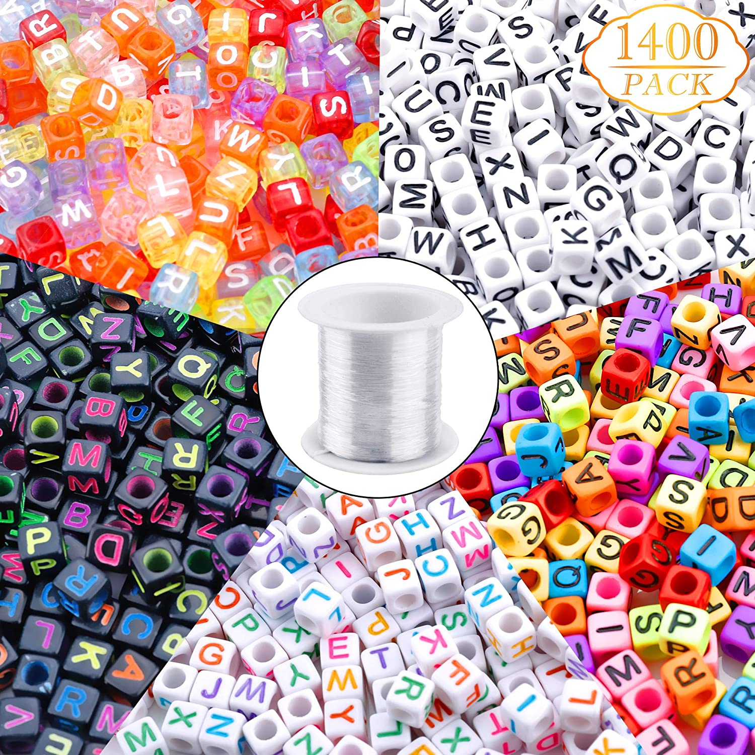 1400pcs 5 Color Acrylic Alphabet A-Z Cube Beads with 1 Roll 50M Elastic Crystal String Cord for Jewelry Making Kids DIY Necklace Bracelet(6mm) Augshy
