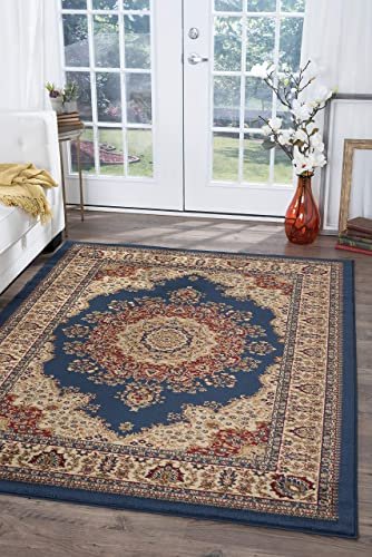 Fiona Traditional Oriental Navy Rectangle Area Rug, 9 x 12