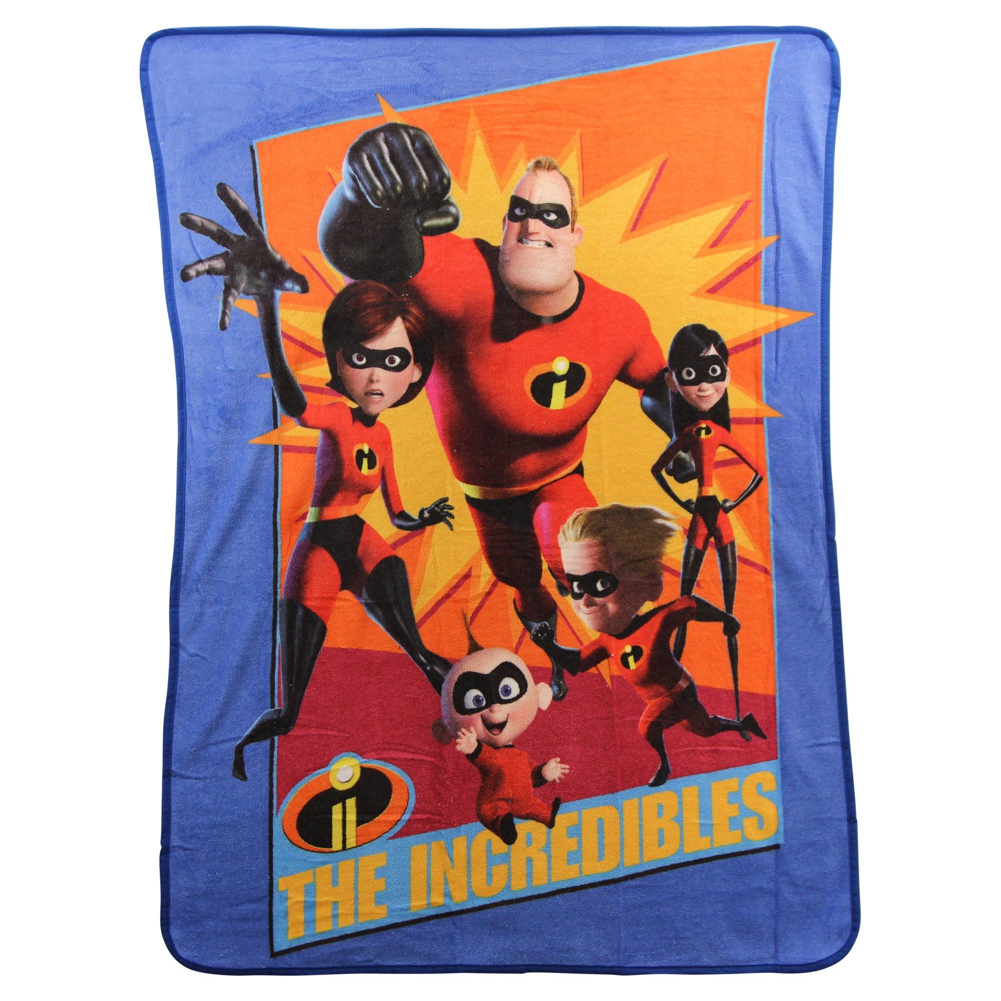 Northwest Kid's Colorful Character Micro Raschel Throw Blanket 46'' x 60'' (Incredibles)