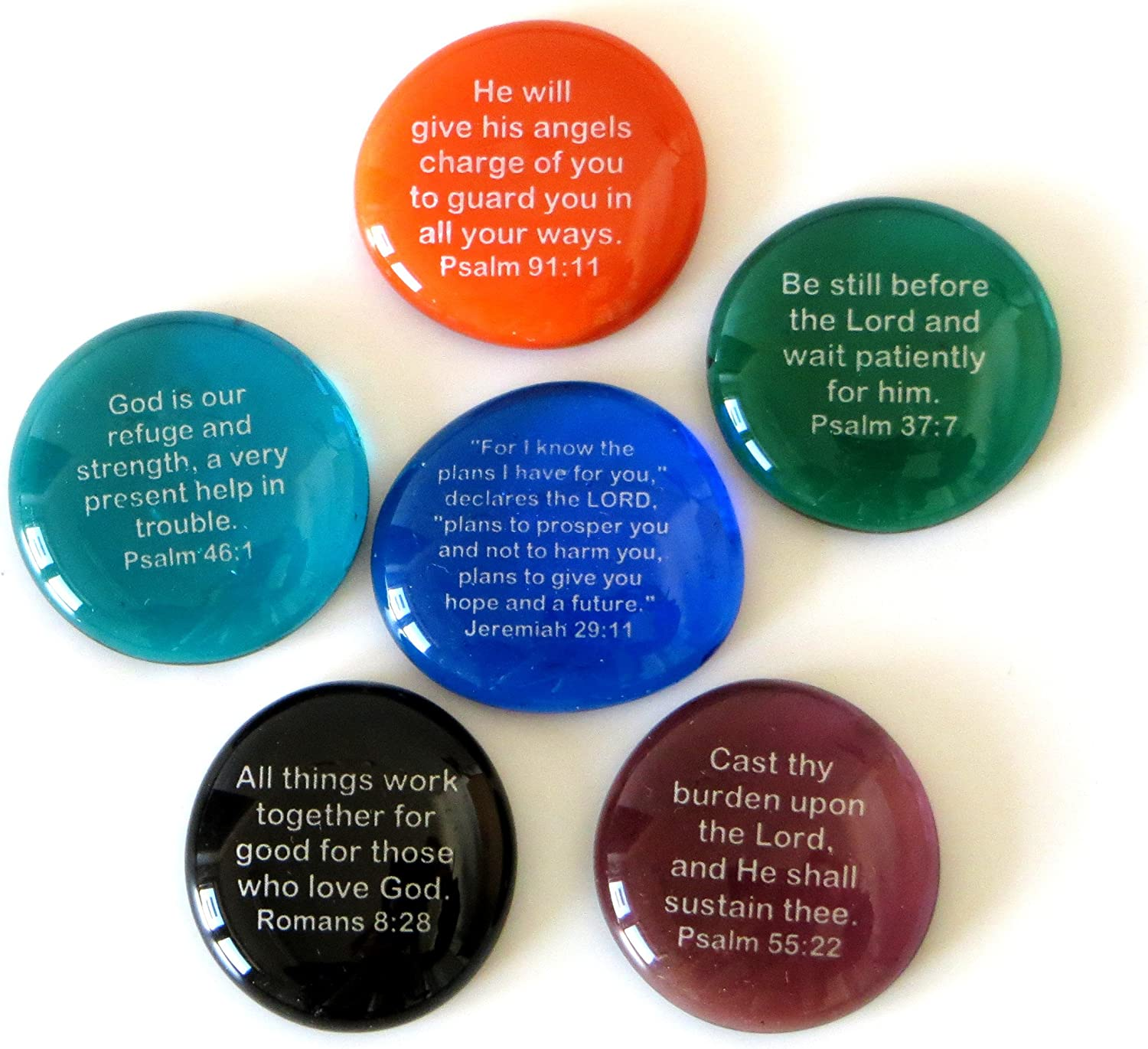 Lifeforce Glass Scripture Glass Stones,Six of Your Favorite Inspiring Bible Verses on Translucent and Opaque Rocks Set II