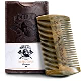 """Beard Comb Kit for Men - Great for Head Hair, Beard & Mustache - Handmade Premium Sandal Wood - Fine Dual Action Teeth - Comes with Gift """"Hunter Jack"""" PU Leather Case - Free eBook"""