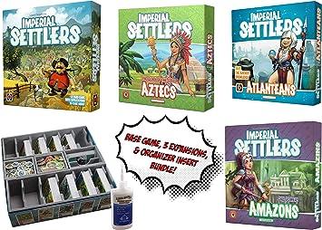 Juego de Mesa Imperial Settlers + Amazons, Aztecas y Atlanteans Expansiones + Organizador de Inserciones de Evacore Ajustable + Pegamento Dorado Groundhog – Paquete de Juego de Mesa.: Amazon.es: Juguetes y juegos