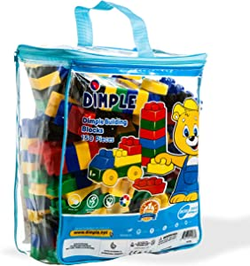 Dimple DC15381 150 Piece Soft Plastic Building Block Set with Wheeled Train Pieces and Carry Bag, Tons of Fun, Great for Kids & Toddlers, Medium, Multicolor