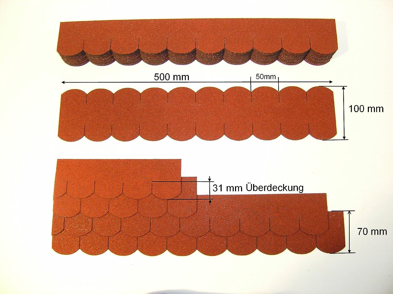 Martinshof Rothenburg 50 mm, Tejas de tej/ón de tej/ón de ripie Mini Tejas de imitaci/ón Color Rojo