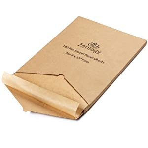 Zenlogy 9x13 Unbleached Parchment Paper Baking Sheets - Exact Fit For Quarter Sheet Pans - Easy Storage Box