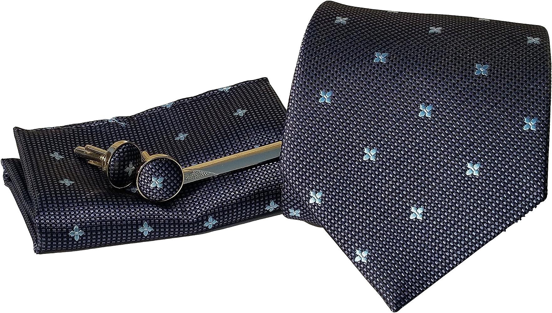 Amhillras Corbata de hombre caja conjunto con pañuelo gemelos y ...