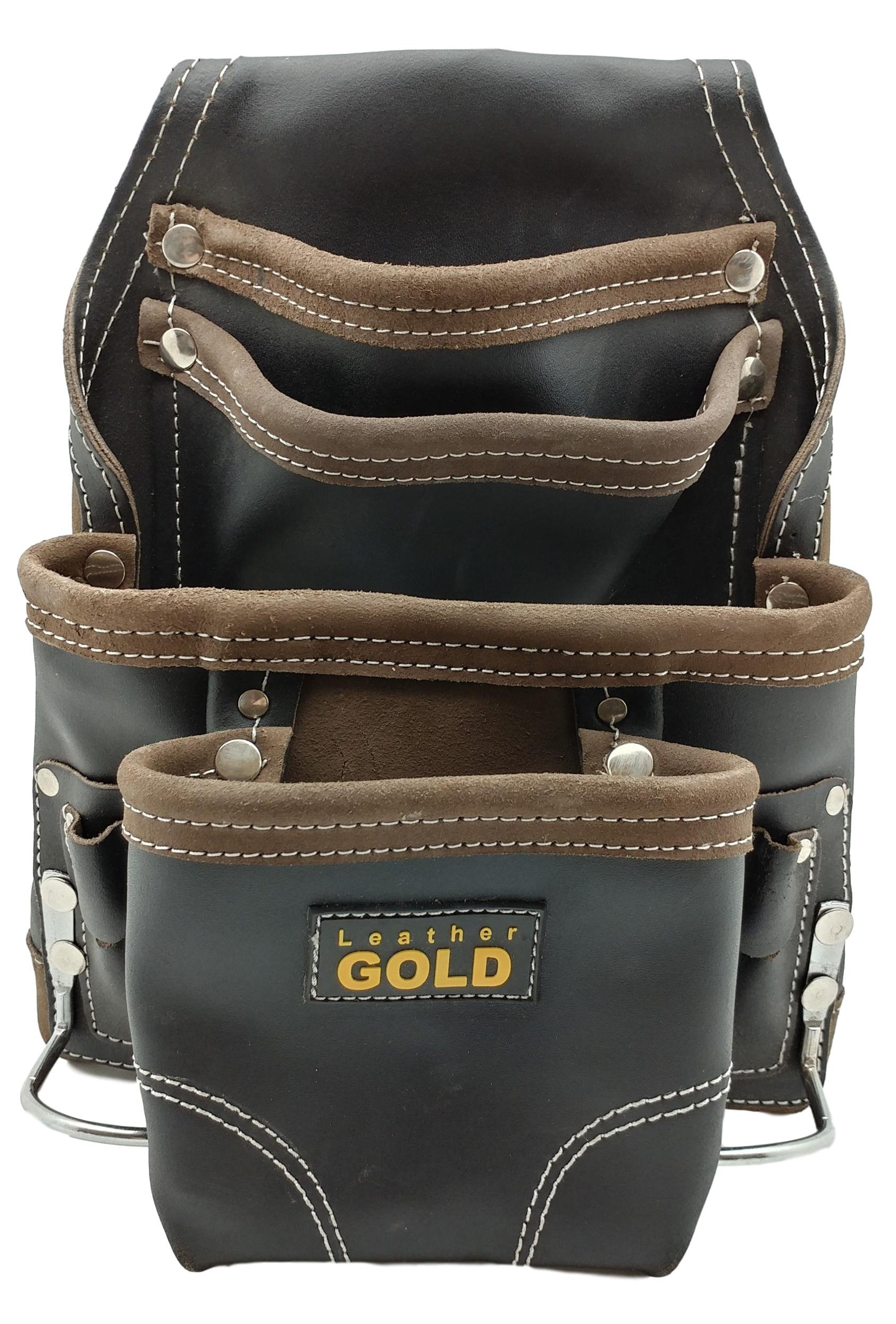 Leather Gold Heavy Duty Tool Pouch | Carpenters Tool Pouch 3150, Black, Oil-Tanned, 10 Pockets, 2 Hammer Holders, Reinforced Seams by Leather Gold