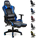HULLR Gaming Racing Computer Office Chair With Foot Rest, Executive High Back Ergonomic Reclining Design With Detachable Lumbar Backrest & Headrest (PC PS4 XBOX Laptop) (Black/Blue)