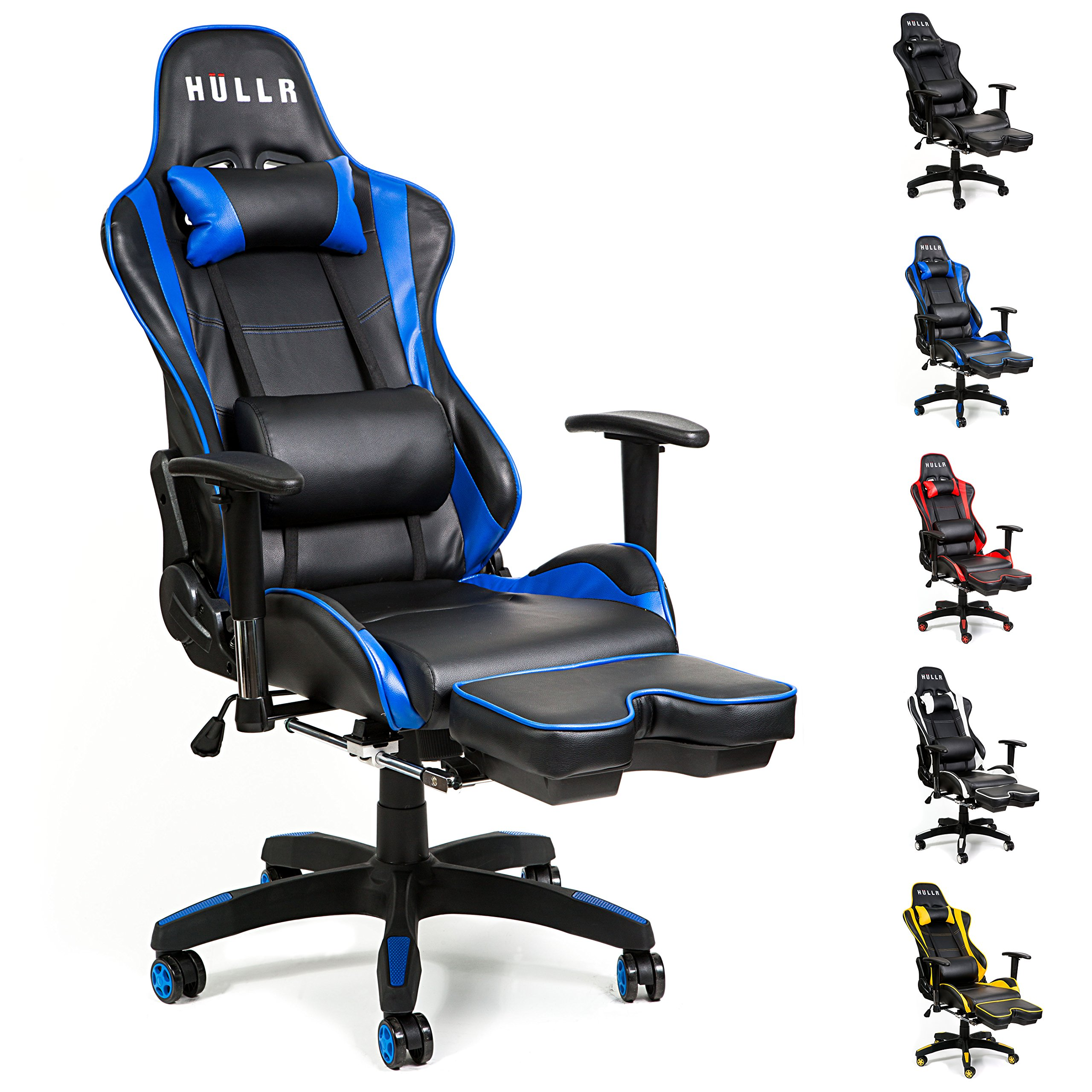 HULLR Gaming Racing Computer Office Chair With Foot Rest, Executive High Back Ergonomic Reclining Design With Detachable Lumbar Backrest & Headrest (PC PS4 XBOX Laptop) (Black/Blue) by HÜLLR