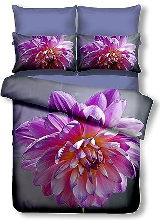 Bettwaren, -wäsche & Matratzen 1 Bettwäsche-garnitur Beige Mit Blumen Lila Rosa 135x200 Cm Kissen 80x80 Cm