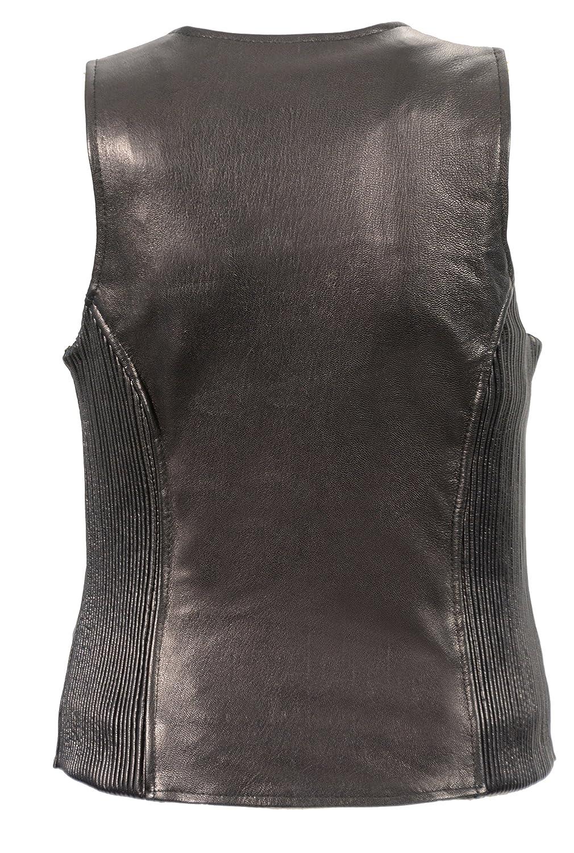 Black, Small Milwaukee Leather Womens Premium Lamb Skin Zippered Vest