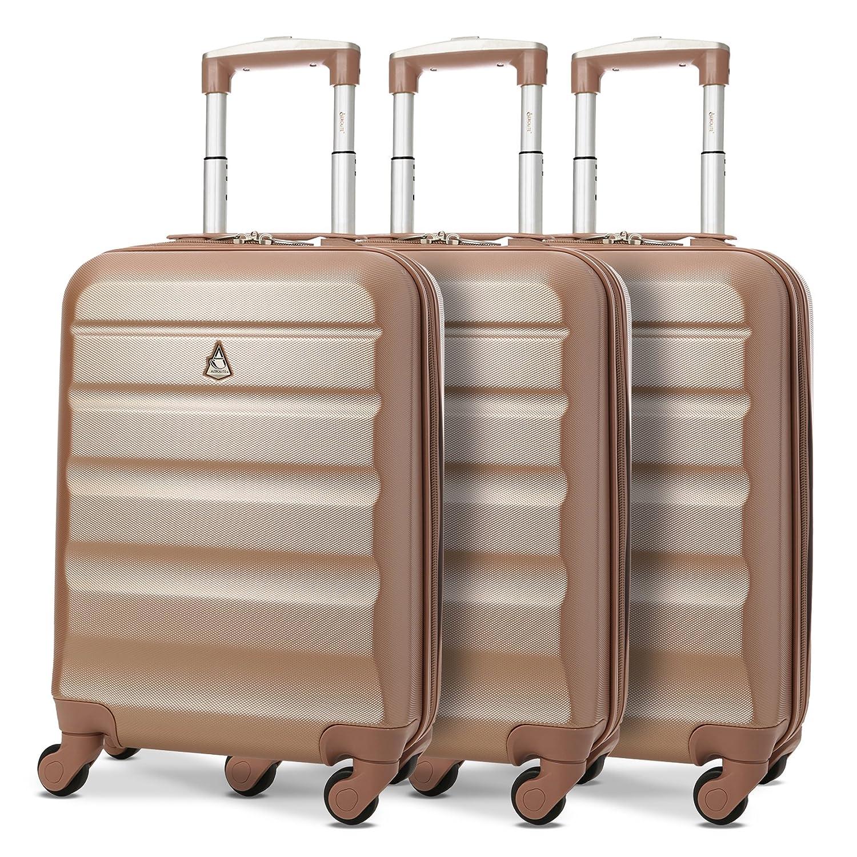 Aerolite ABS Bagage Cabine Bagage à Main Valise Rigide Légere à 4 roulettes, Approuvées pour Ryanair, Easyjet, Air France, Lufthansa, Jet2, Monarch et Plus, Set de 3 Valises, Argent