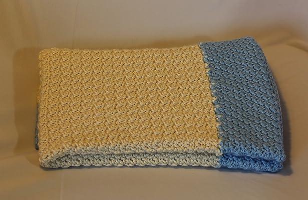 Handmade Crochet Baby Blanket in Ivory and Blue