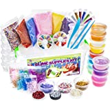 DIY Slime Supplies Kit - For Girls Boys   Slime Making Kit with Clear Crystal Slime, Foam Balls, Crunchy Fishbowl Beads, Glitter, Stars, Fruit Slices, Emojis, Containers   Squishies Toy Set