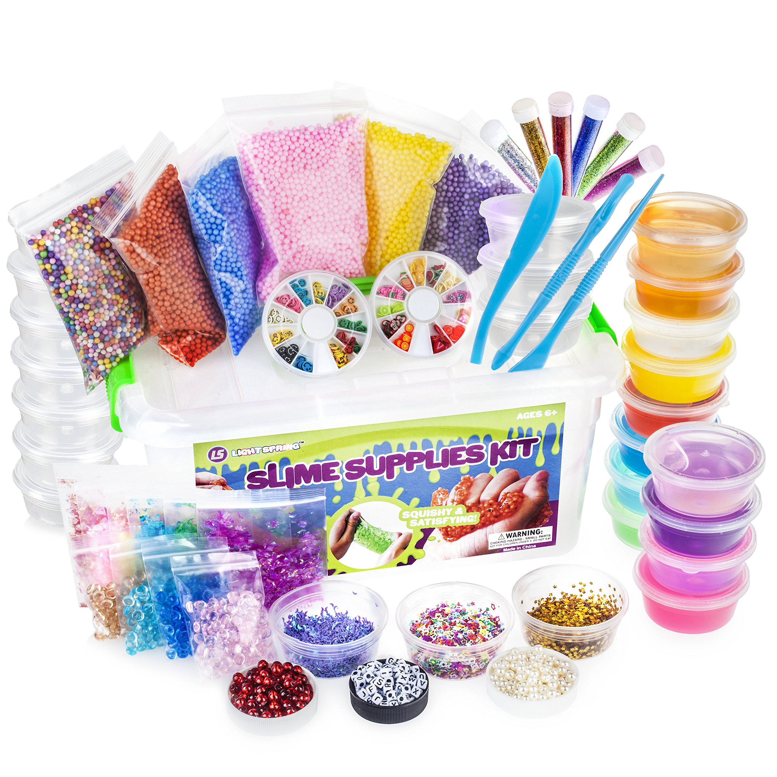 LightSpring DIY Slime Supplies Kit - 55 Pack for Girls & Boys | 12 Colorful Clear Slime, 10 Bonus Containers, Plus Add Ins in Storage Case | Crystal Putty Toy Set | Water Based Stress Toys for Kids