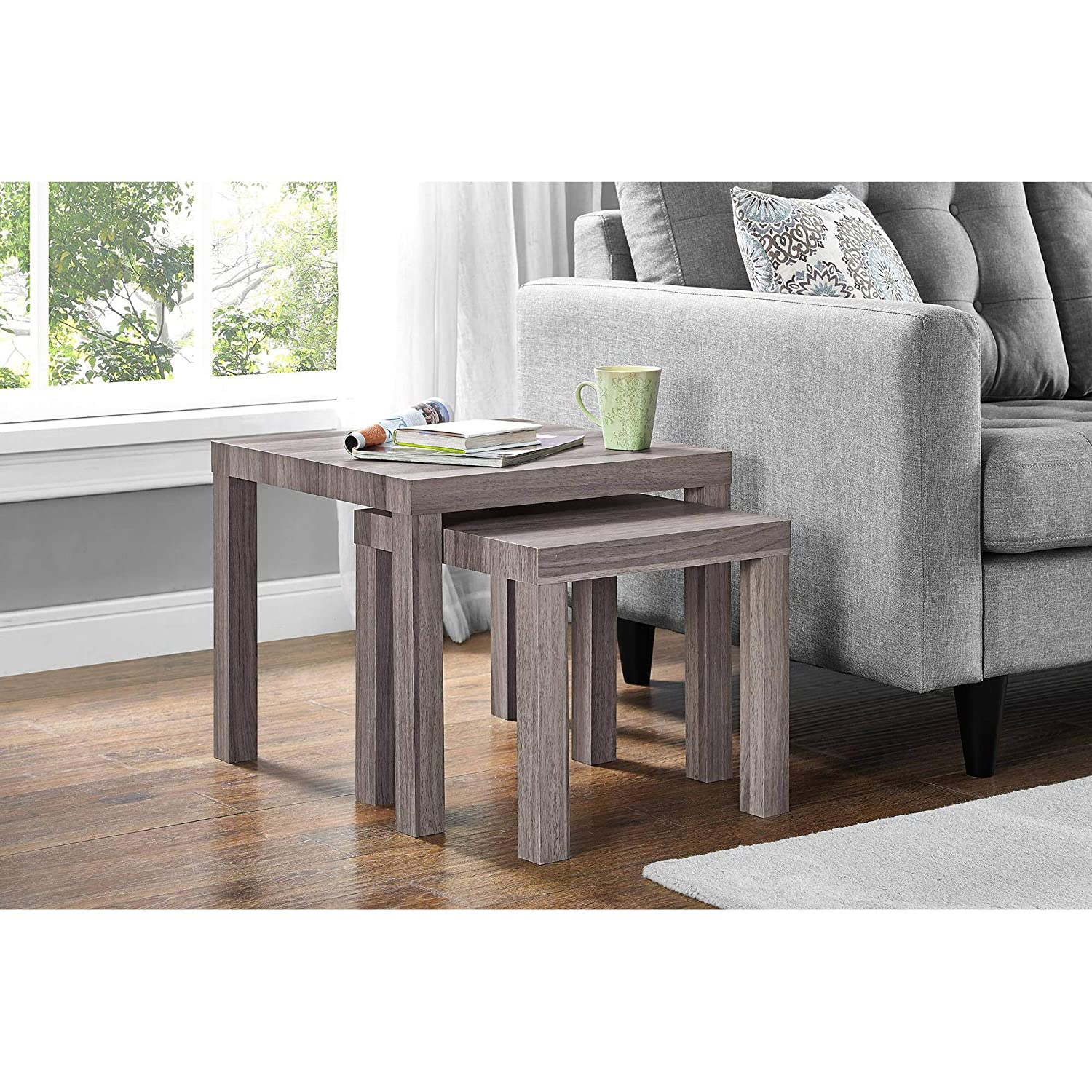 Parsons Rustic Living Dining Room Side Nesting Coffee Tables, 2-Piece Table  Set, Rustic Oak