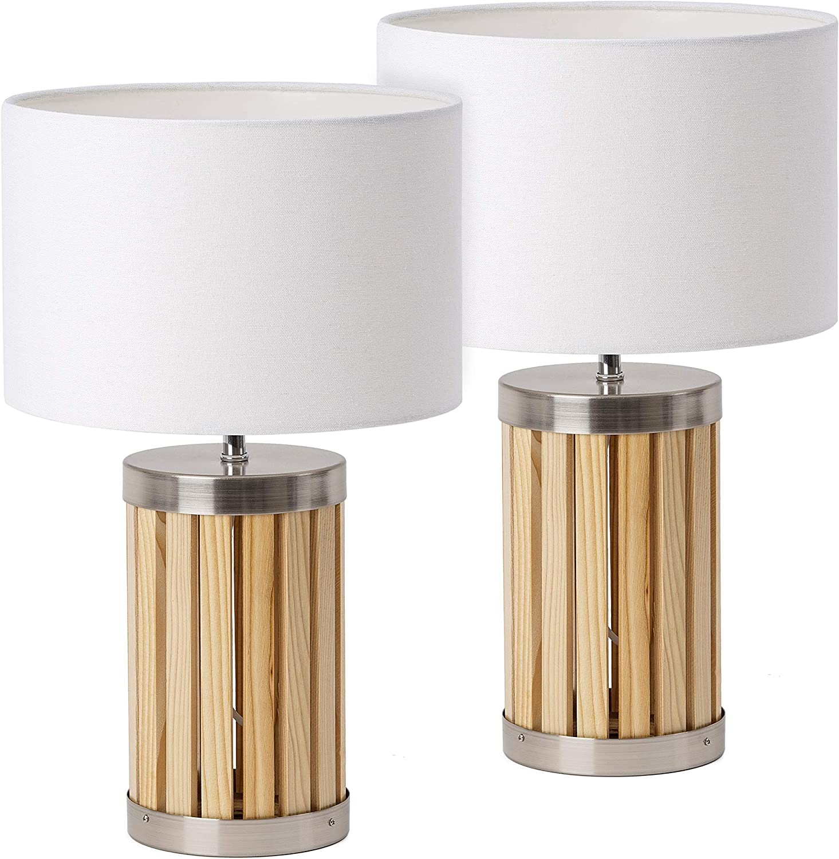 de Chevet céramique 38 cm Doré Blanc BRUBAKER Lot de 2 Lampes de Table