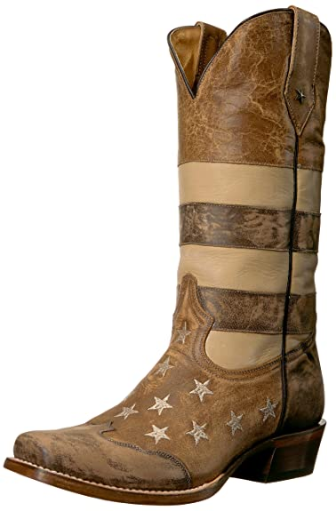 ROPER Men s Vintage American Flag Western Boot Wide Square Toe Brown ... b5ae33f1fc5b