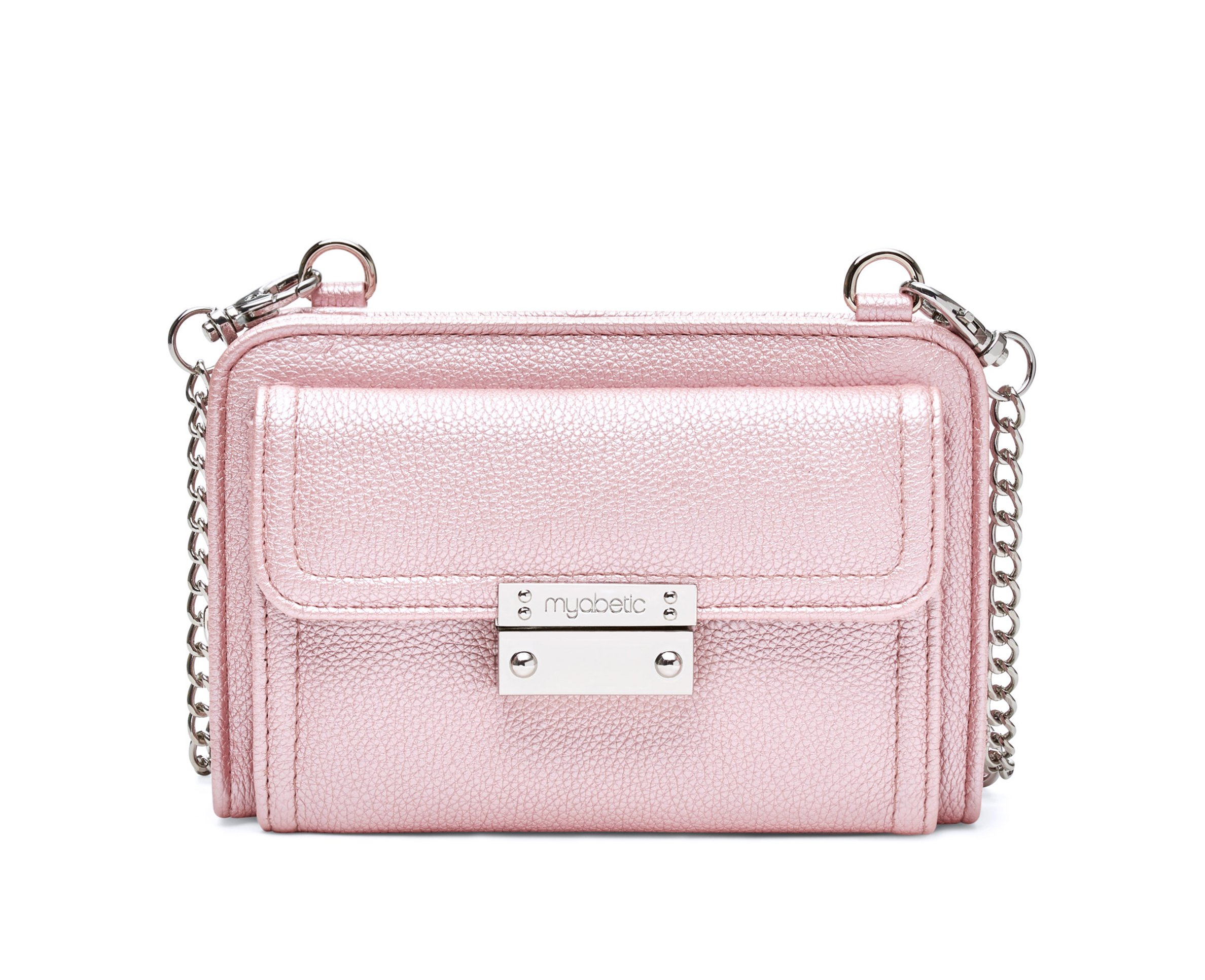Myabetic Tina Diabetes Mini Crossbody for Glucose Meter, Test Strips, Insulin Pen or Vial, Keys, Credit Cards (Pink Frost)
