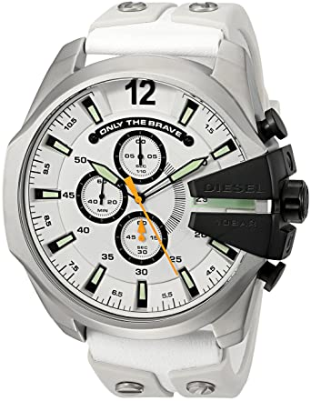 Amazon.com: Diesel Mens DZ4454 Mega Chief White Leather and Silicone Watch: Diesel: Watches