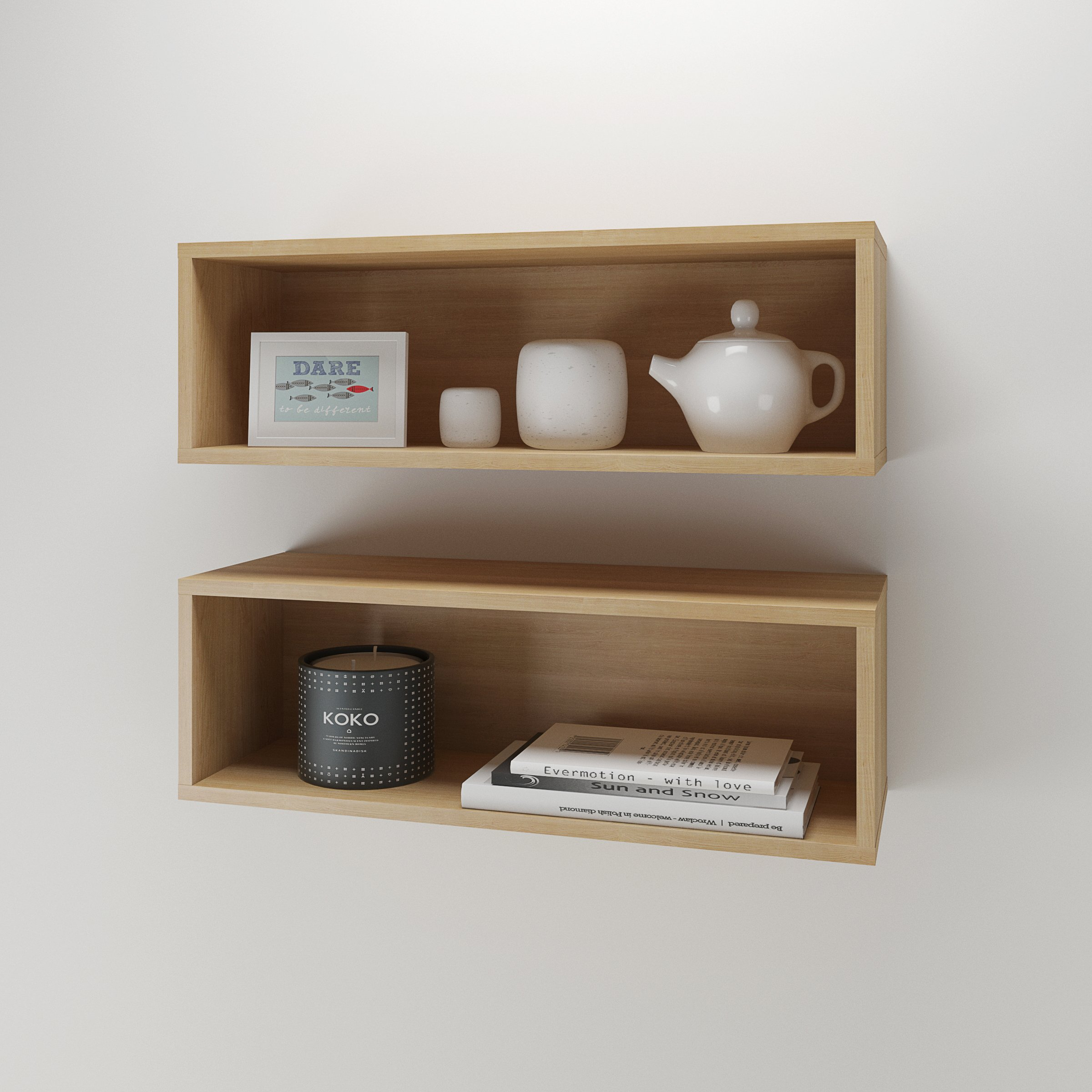 Nexera Wall Shelves 223505, Set of 2, Natural Maple