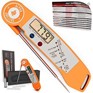 Alpha Grillers Instant Read BBQ Meat Thermometer For Grill And Cooking