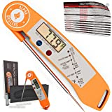 Instant Read BBQ Meat Thermometer For Grill And Cooking. Sold In Elegant Gift Box. Best Ultra Fast Digital Food Probe. Includes Internal Meat Temperature Guide. Spring Loaded. By Alpha Grillers