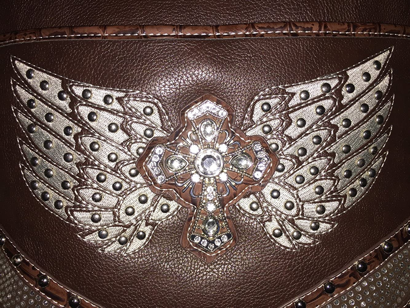 Premium Western Womens Angel Wings Cross Handbag Messenger Bag Wallet and Set