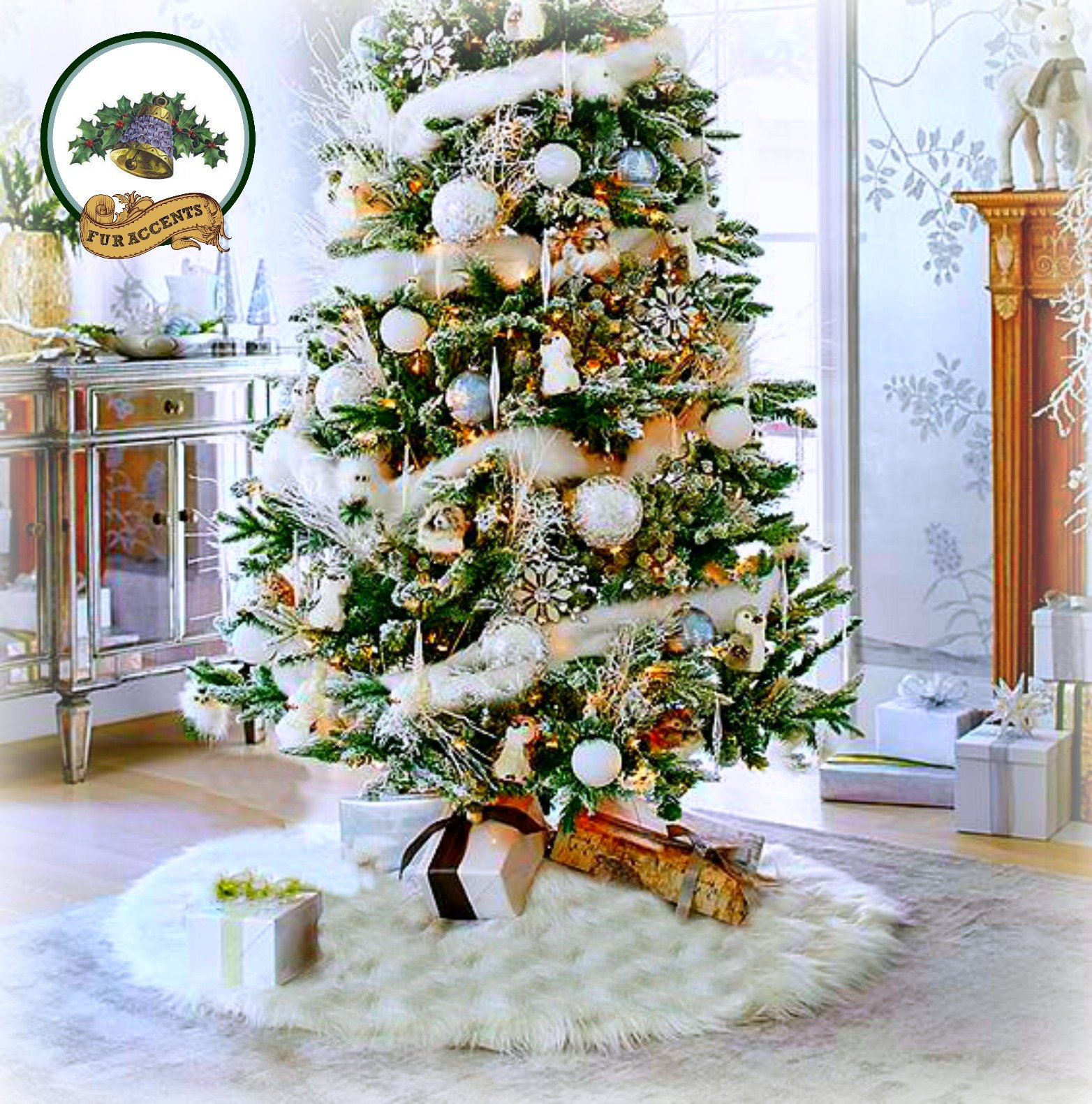 Classic Faux Fur Christmas Tree Skirt - Shaggy Shag Faux Sheepskin Round - White or Off White by Fur Accents - USA (6' Round, White) by Fur Accents (Image #1)