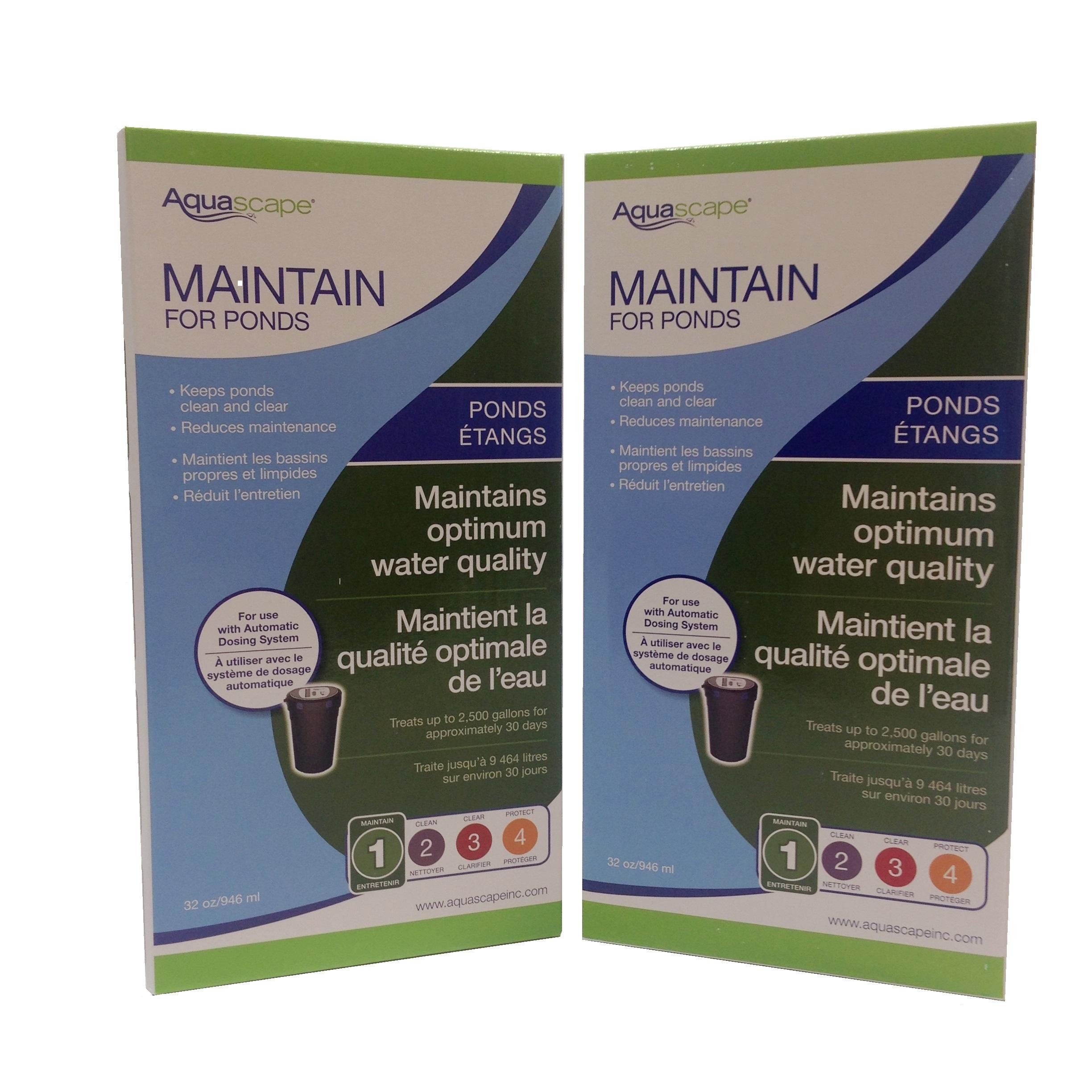 Aquascape 2-Pack of Maintain for Ponds 32 Ounce Refill for Automatic Dosing System Keeps Water Clean, Clear and Reduces Maintenance - Fish and Plant Safe by Aquascape
