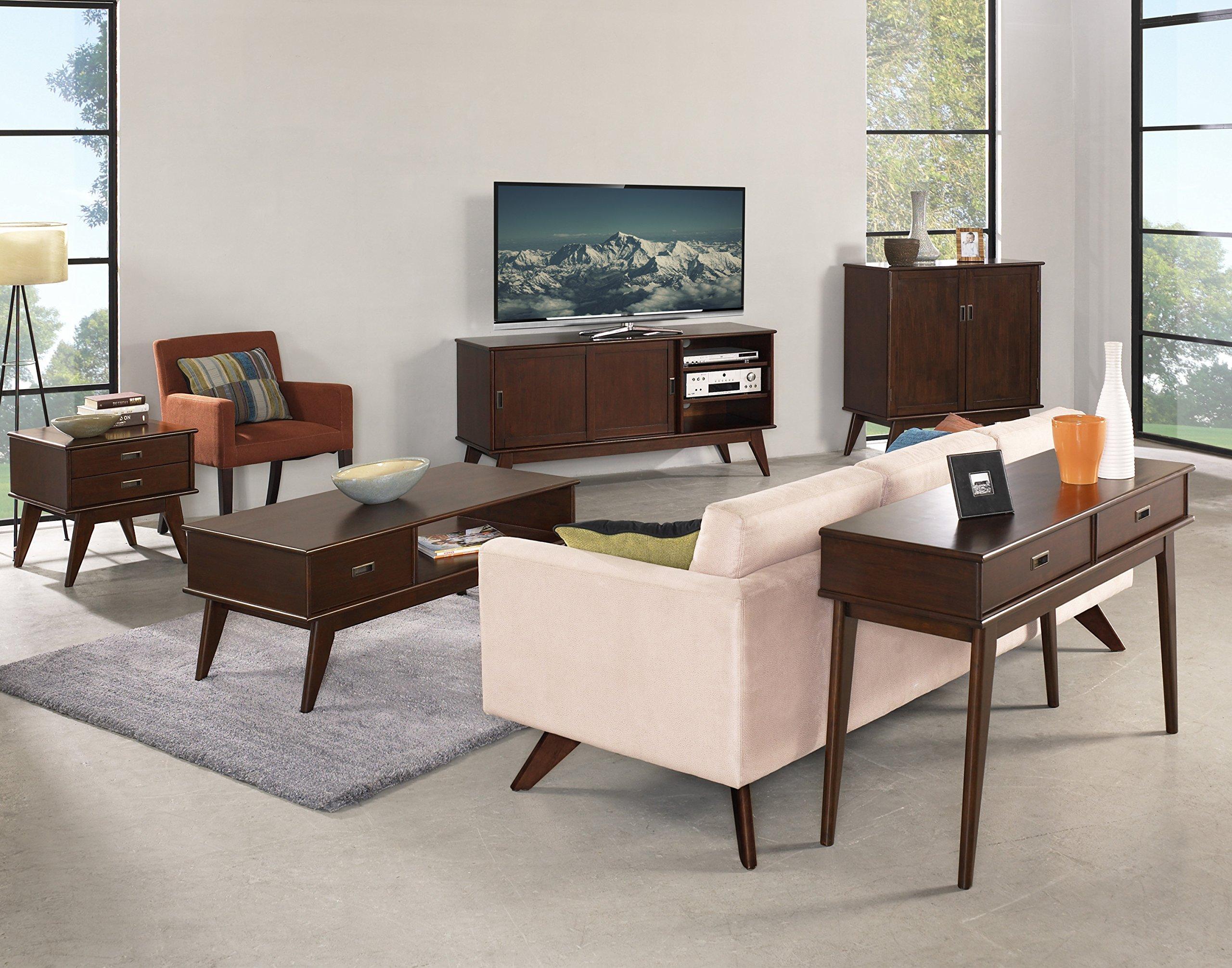 Simpli Home Draper Mid Century Solid Hardwood Storage Cabinet, Medium, Auburn Brown by Simpli Home (Image #7)